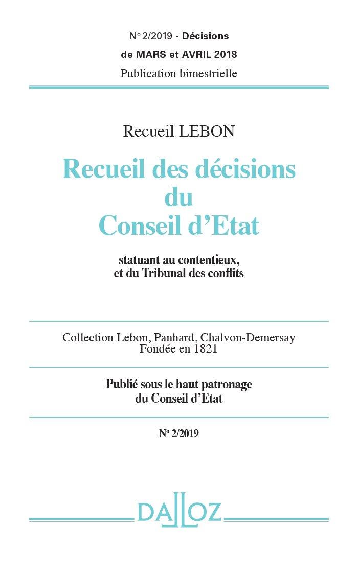 RECUEIL DES DÉCISIONS DU CONSEIL D'ETAT