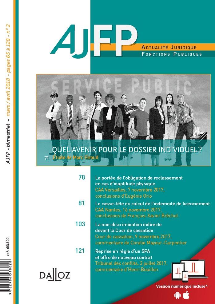ACTUALITE JURIDIQUE - FONCTIONS PUBLIQUES