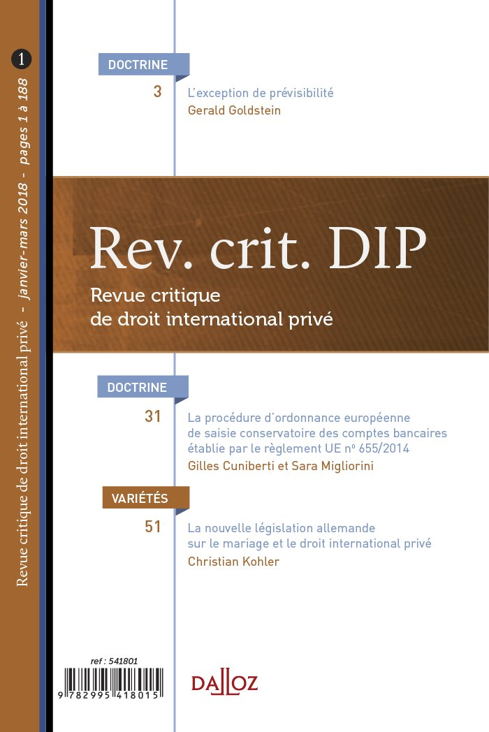 REVUE CRITIQUE DE DROIT INTERNATIONAL PRIVE