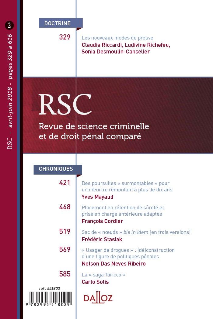 REVUE DE SCIENCE CRIMINELLE ET DE DROIT PENAL